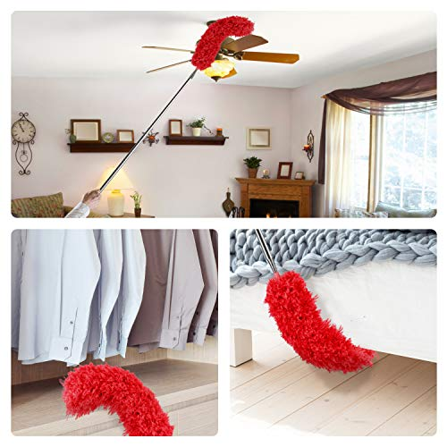 Microfiber Duster with Extension Pole(Stainless Steel), Extra Long 100 inches, with Bendable Head, Extendable Dusters for Cleaning Ceiling Fan, High Ceiling, Furniture & Cobweb
