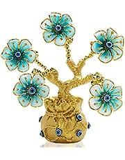 YU FENG Turkse blauwe boze oog bloemen gouden geld fortuin boom met gelukszak vaas voor huisdecoratie