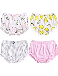 Soft Baby Underwear for Toddler Girls Cotton Training Pants Pack of 4 (90cm (0-1Y), Color B)