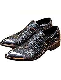 US Size 5-12 Colorful Leather Mens Slip On Steel Toe Dress Casual Loafer Shoes