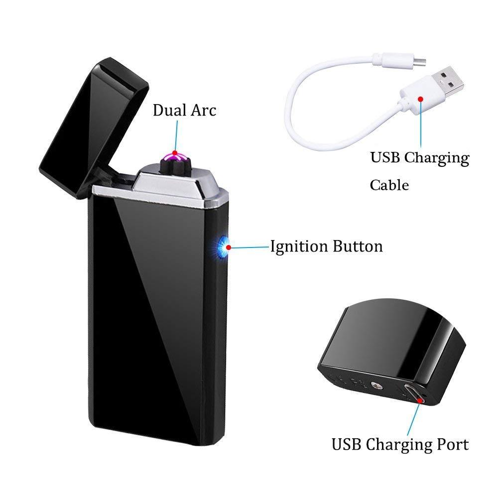 Wiber Encendedor electrónico, Recargable por USB, Encendedor de Doble Arco Resistente al Viento, sin Llama, Encendedor de Plasma para Encendedor de Vela, ...