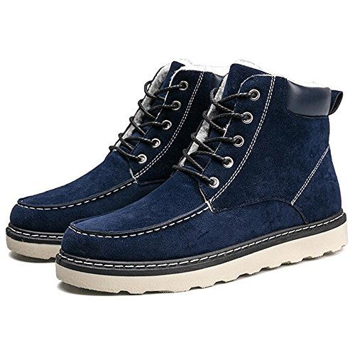 Men's Shoes Feifei High-Quality Materials Winter Non-Slip Keep Warm Casual Fashion Snow Boots 3 Colors (Color : Blue, Size : EU43/UK9/CN44)