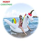 Unicorn Inflatable Pool Floats Holds Up To 390 lbs Fast Inflates and Deflates Indoor Outdoor Swimming Pool Recreation (Colorful)