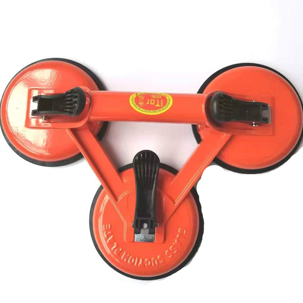 Orange Heavy Duty Aluminum Glass Suction Cups Vacuum Plate Handle Glass Holder Hooks to Lift Large Glass//Floor Gap Fixer//Tile Suction Cup Lifter//Moving Glass//Pad for Lifting//Dent Puller