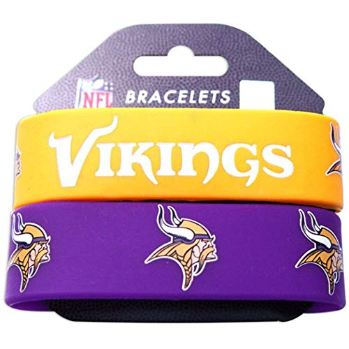 NA 2 Piece 8 Inch NFL Vikings Mens Rubber Silicon Bracelet Set, Football Themed Wristband Sports Patterned, Team Logo Fan Fashion Athletic Team Spirit Fan Arm Band, Purple Yellow Gold White ()