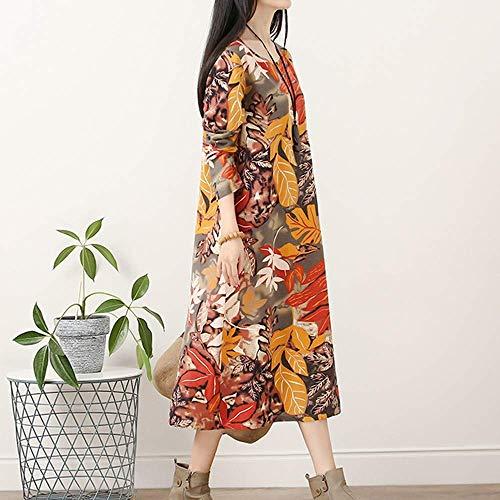 X Flores large Retro De color Con Mujer Para Estampado Larga Gris Manga Zhrui Largo Azul Tamaño Vestido qpw0T6T