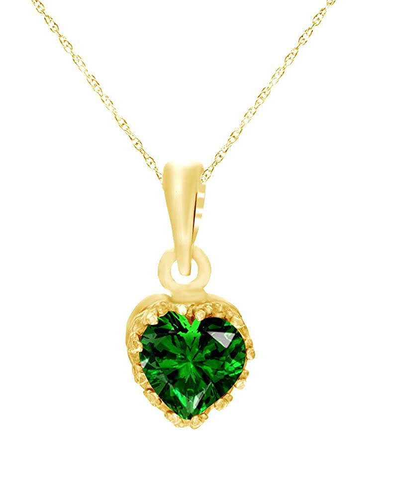Wishrocks Heart Cut Simulated Emerald Crown Pendant in 14K Gold Over Sterling Silver