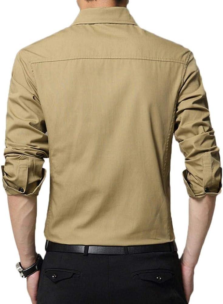 Hffan Camisa De Hombre Fashion Tool con Camisa Top Cuello Slim Fit Tops Negro Azul Oscuro Traje De Color Khaki Boda De Negocios Camisas De Ocio Súper (Color : Khaki, Size :