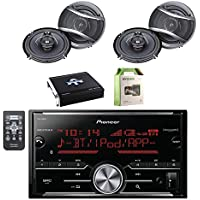 Pioneer Vehicle Digital Media 2DIN Receiver with Bluetooth with Pioneer 6.5 Inch 320-Watt 3-Way Car Coaxial Speakers 2-Pairs, Autotek 4 Channel Amplifier & Enrock 8 Gauge Amplifier Wiring kit