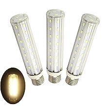 Luxvista T10 Tubular Light Bulb 15W Medium Screw Base E26/E27 Led Corn Light Bulb Warm White 3000K CFL Replacement Piano Lighting, 3-pack