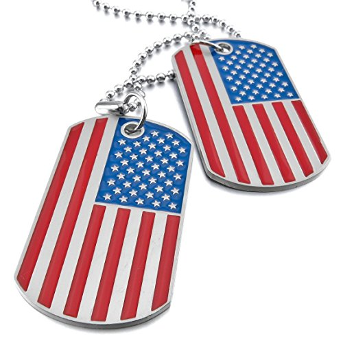 UM Jewelry Army Style Mens 2pcs Enamel American Flag Dog Tag Pendant Necklace