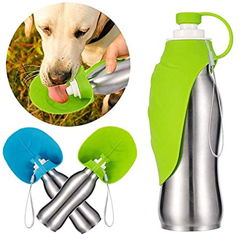 Portable Dog Water Bottle for Walking, 20 oz Stainless Steel, Durable & Lightweight Puppy Water Drink Cup with Bowl Dispenser for Hiking and Travel, BPA Free Leak Proof Slicone, Green