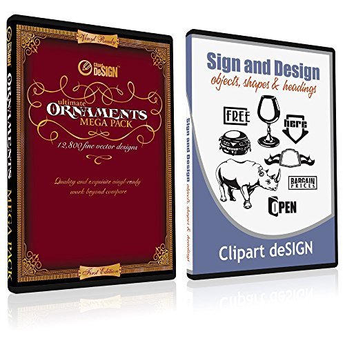 Sign Clipart, Design Elements, Scrolls, Floral, Flourishes, Ornamental Panels + Frames Vinyl Cutter Plotter Vector Clip Art Images, Graphics on CD [includes Sign & Design as a FREE Bonus a $59 value] Clip Art Certificate