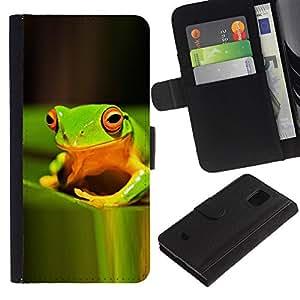 Planetar® Modelo colorido cuero carpeta tirón caso cubierta piel Holster Funda protección Para Samsung Galaxy S5 Mini / SM-G800 (Not For S5!!!) ( Green Rain Forest Happy Nature Tropical )