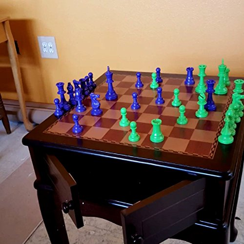 Pedestal Chess Table, Large Wooden Indoor and Outdoor Vintage Rustic Contemporary Home and Garden Chess Table Set with Four Legs & E-Book
