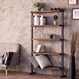 MyGift 5-Shelf Industrial Metal & Wood Bookcase