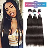 100% Unprocessed Remy Human Hair Weave Extension 8A 3 Bundles Peruvian Virgin Hair Straight 300g/3pcs Natural Color Can Be Dyed Permed And Styled(16″ 18″ 20″) Review
