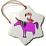 3dRose All Smiles Art Animals - Funny Cute Pink Flamingo Riding Unicorn Cartoon - 3 inch Snowflake Porcelain Ornament (orn_281450_1)