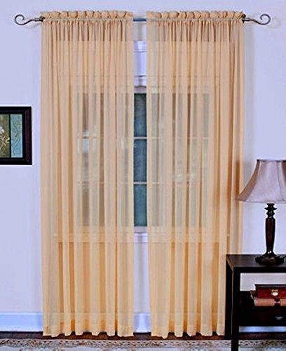 "4-Piece SOFT PEACH Sheer Voile Window Panel Curtains 55""W X 84""L Each Panel"
