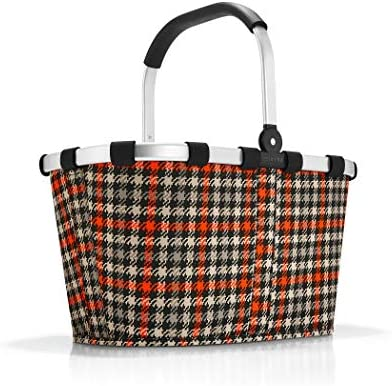 reisenthel Carrybag Fabric Picnic Tote, Sturdy Lightweight Basket for Shopping and Storage, Glencheck Red