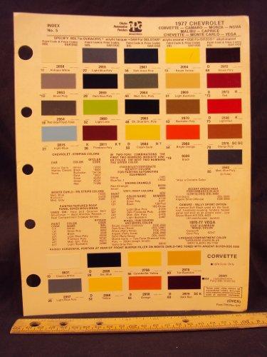 1977 CHEVROLET Corvette, Camaro, Monza, Nova, Malibu, Caprice, Chevette, Monte Carlo, & Vega Paint Colors Chip - Monte Vegas Carlo Las