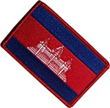 "[Single Count] Custom, Cool & Awesome {2.15"" x 3.4"" Inches} Small Rectangle Cambodian Kingdom of Cambodia Flag Badge Angkor Wat Emblem Design (Military Type) Velcro Patch ""Red, Blue & White"""