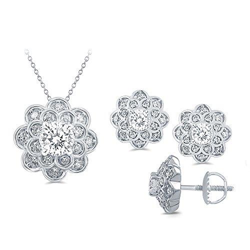 (La Joya Round White Simulated CZ Diamond Sterling Silver Flower Brides Pendant Earring Jewelry Set for Womens)