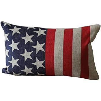 american flag like print rectangular throw pillow covers 30cmx45cm decorative pillow covers linen lumbar cushions - Red Decorative Pillows