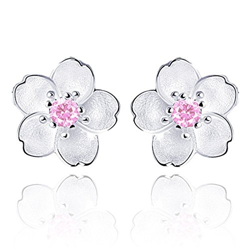 (Flower Hypoallergenic Sterling Silver Stud Earring for Women and Girls with CZ Crystal Charms, 4 Styles Daisy, Lotus and Cherry (Pink Cherry Flower))