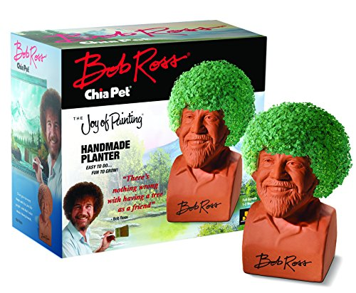 Chia Pet Bob Ross with Seed Pack, Decorative Pottery Planter, Easy to Do and Fun to Grow, Novelty Gift, Perfect for Any Occasion -