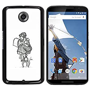 "For NEXUS 6 / X / Moto X Pro Case , Chica Artista Arte Dibujo Lápiz Sentado falda larga"" - Diseño Patrón Teléfono Caso Cubierta Case Bumper Duro Protección Case Cover Funda"