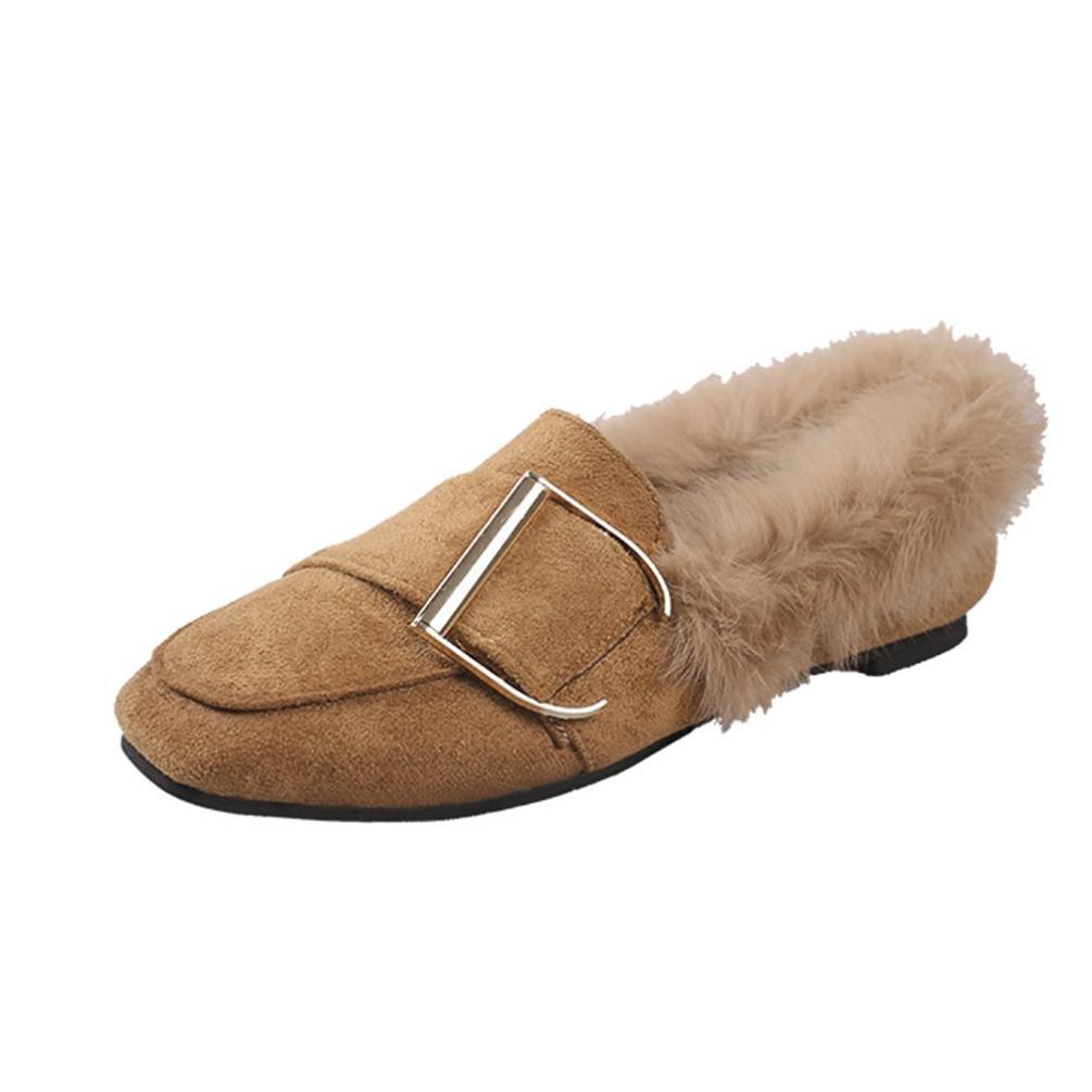 BYSTE Donna fibbia della cintura piatto Plus cashmere Scarpe singole Scarpe peluche Caldo morbido Casuale Piselli Piatto Scarpe Marrone