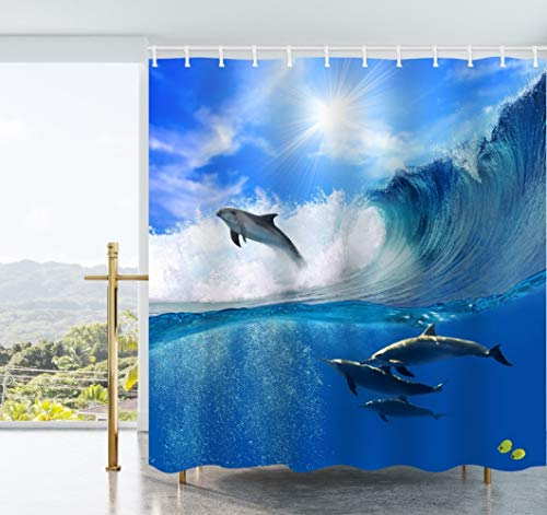 Ao blare Ocean View Shower Curtain Sunlight Playful Dolphins Swimming Leaping Out from Sea Surfing Wave Waterproof Polyester Fabric Shower Curtain Set with Hooks 72X72 ()