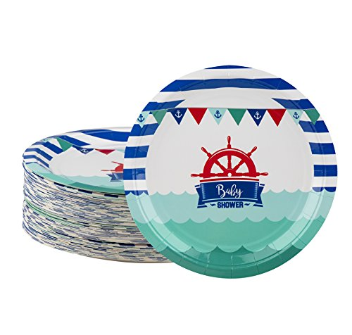 Disposable Plates - 80-Count Paper Plates, Nautical Themed Baby Shower Party Supplies for Appetizer, Lunch, Dinner, and Dessert, 9 x 9 Inches (Lunch Shower Paper Plates Party)