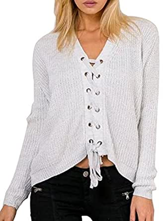 Joeoy Women's Beige Lace Up Front V Neck Long Sleeve Knit Sweater Jumper-Onesize