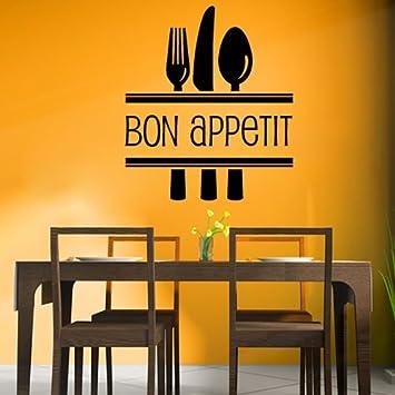Amazon.com: Bon Appetite Cutlery Food Quotes & Slogans Wall Sticker ...