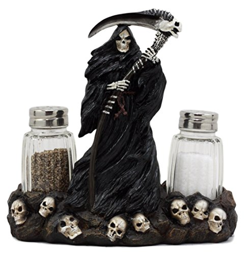 Ebros Gift Day Of The Dead Grim Reaper Standing On Skull Graveyard Salt & Pepper Shakers Holder Figurine Set 6.25