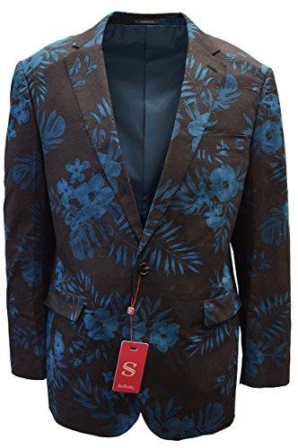 SILVERSILK MEN'S FANCY COTTON JACKET- FLORAL PRINTS DESIGN (LARGE, BLACK/NAVY) - Exclusive Single Breasted Jacket