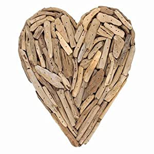 Driftwood Heart with Rope Hanger, Approx. 11 Inches High x 9.5 Inches Wide x 2.25 Inches Deep