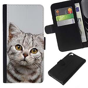 Kitten Sad Manx Azules Shorthair - la tarjeta de Crédito Slots PU Funda de cuero Monedero caso cubierta de piel HTC Desire 820