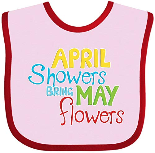 Inktastic - April Showers Bring May Flowers Baby Bib Pink and Red 25f4b