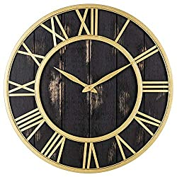 Oldtown Clocks Gold and Black Home Decor Wall Clock - Metal & Solid Wood Noiseless Antique Wall Clock (Black Gold, 18-inch)