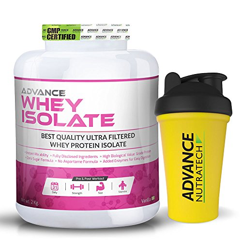 Whey Protein Isolate Powder 2kg (4.4 LBS) vanilla ,shaker free ... by ADVANCE NUTRATECH