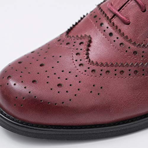 Cordones De Mujer Derby Tacon Elegantes Comodos Oxford Vino Rojo Zapatos Ancho Annieshoe a1qxFwAWtq