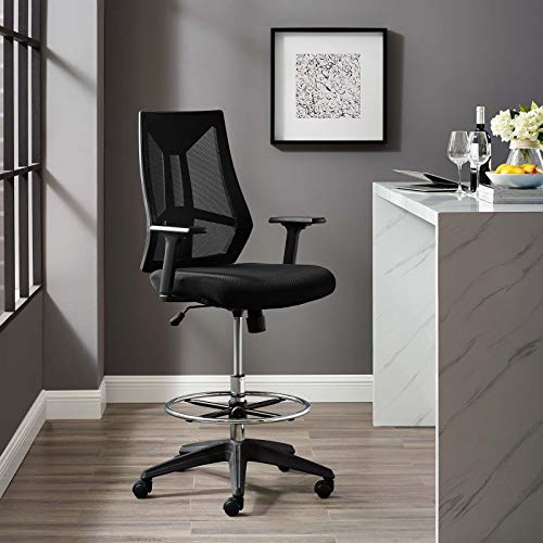 Modway Extol Mesh Drafting Chair In Black – Tall Office Chair For Adjustable Standing Desks
