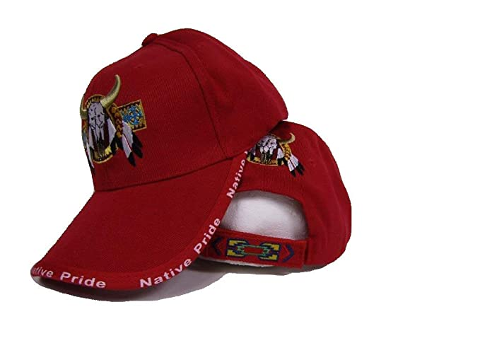 437bb23f72565 Image Unavailable. Image not available for. Color  Bull Skull Buffalo  Indian Native Pride Red Embroidered Ball Cap Hat