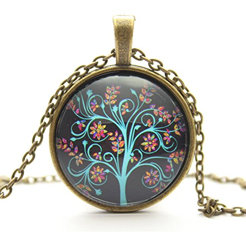 Moonar Life Tree Pendant Necklace, Art Tree Glass Cabochon Necklace, Bronze Chain Vintage Choker Necklace, Lady's Retro pendant necklace (H)