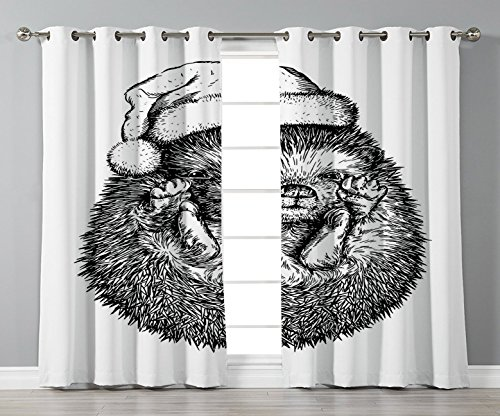 Thermal Insulated Blackout Grommet Window Curtains,Hedgehog,Monochrome Hedgehog with Winter Attire Funny Hat Cute Animal Fauna Image Print,Black White,2 Panel Set Window Drapes,for Living Room Bedroom