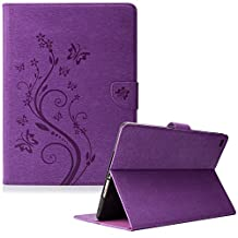 iPad Air 2 Case, iPad 6 Case, Dteck(TM) Premium Synthetic Leather Magnetic Stand Case with [Card Slot/Money Holder] Full Body Protective Flip Wallet Case Cover for Apple iPad Air 2/iPad 6th--PURPLE
