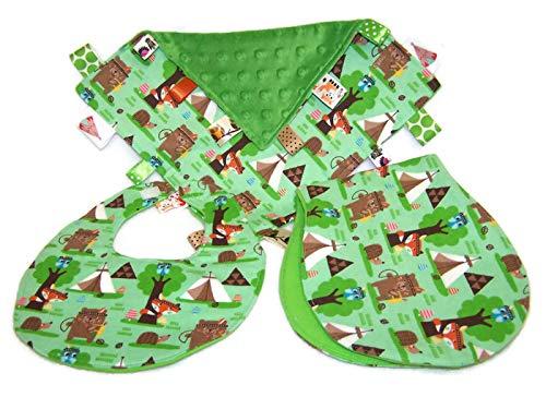 - Woodland Creatures Bib, Burp Cloth & Lovie Baby Gift Set